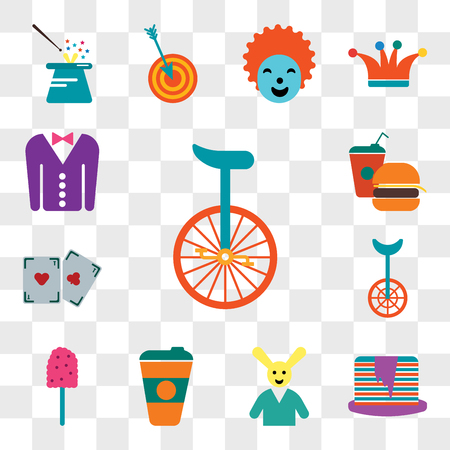 Set Of 13 transparent editable icons such as Unicycle, Pancakes, Magician, Coffee cup, Cotton candy, Magic trick, Fast food, Tuxedo, web ui icon pack, transparency set