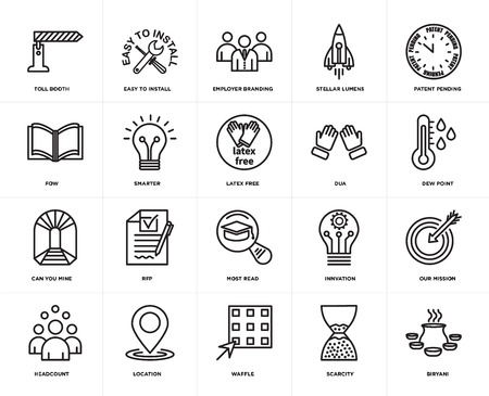 Set Of 20 icons such as biryani, scarcity, waffle, location, headcount, patent pending, dua, most read, can you mine, smarter, employer branding, web UI editable icon pack, pixel perfect