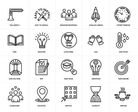 Set von 20 Symbolen wie Biryani, Knappheit, Waffel, Standort, Anzahl der Mitarbeiter, Patent angemeldet, Dua, am meisten gelesen, können Sie meins, intelligenter, Employer Branding, Web-UI bearbeitbares Symbolpaket, Pixel perfekt
