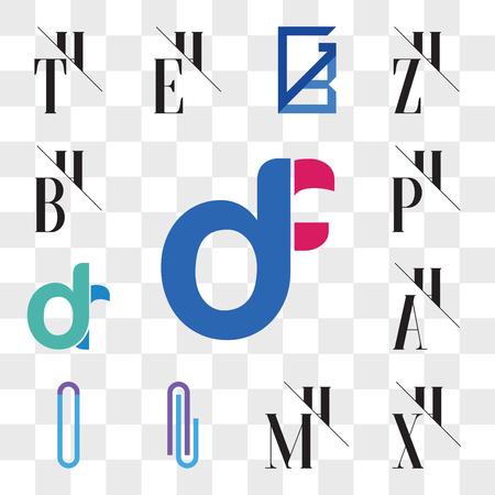 Set Of 13 transparent editable icons such as df, fd, XH, HX, MH, HM, Al or lA Letter, AT TA AH, HA, dr, rd, PH, HP, BH, HB, web ui icon pack, transparency set Ilustração