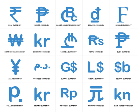 Set Of 20 simple editable icons such as Cuba currency, Indonesia Iceland North Korea Georgia web UI icon pack, pixel perfect