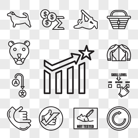 Set Of 13 transparent editable icons such as efficacy, try again, not tested on animals, okey, call me, skill level, change language, gears mesh, lioness, web ui icon pack, transparency set Vector Illustration