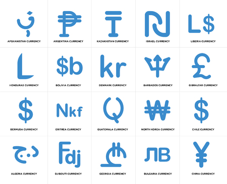 Set Of 20 simple editable icons such as Gibraltar currency, Georgia Djibouti Honduras Denmark web UI icon pack, pixel perfect Illustration