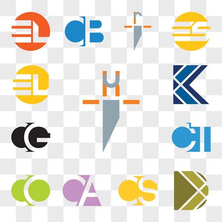 Set Of 13 transparent editable icons such as hi ih, D Letter, CS SC, CA AC, CO OC, CT TC, CG GC, K EL LE, web ui icon pack, transparency set Ilustração