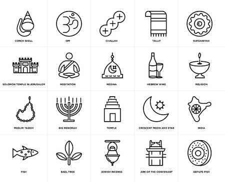 Set Of 20 simple editable icons such as Gefilte Fish, Religion, Sufganiyah, Tallit, Om, Crescent Moon and Star, Solomon Temple In Jerusalem, web UI icon pack, pixel perfect