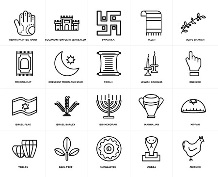 Set Of 20 simple editable icons such as Chicken, One God, Olive Branch, Tallit, Tablas, Solomon Temple In Jerusalem, Manna Jar, Praying Mat, web UI icon pack, pixel perfect