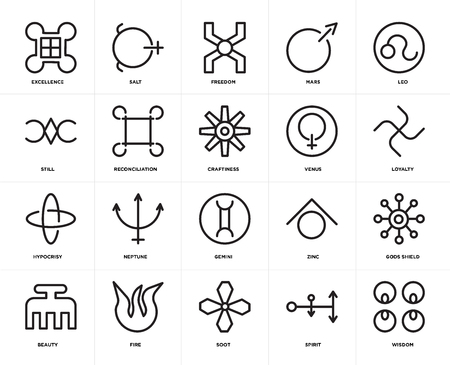 Set Of 20 icons such as Wisdom, Spirit, Soot, Fire, Beauty, Leo, Venus, Gemini, Hypocrisy, Reconciliation, Freedom, web UI editable icon pack, pixel perfect