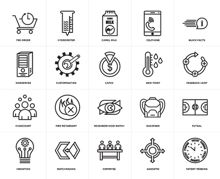 Set Of 20 simple editable icons such as patent pending, feedback loop, quick facts, celphone, innvation, hygrometer, Backpack, webserver, web UI icon pack, pixel perfect