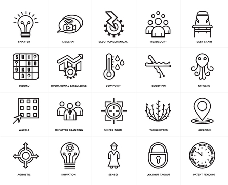 Set Of 20 simple editable icons such as patent pending, cthulhu, Desk chair, headcount, agnostic, livechat, tumbleweed, sudoku, web UI icon pack, pixel perfect 向量圖像