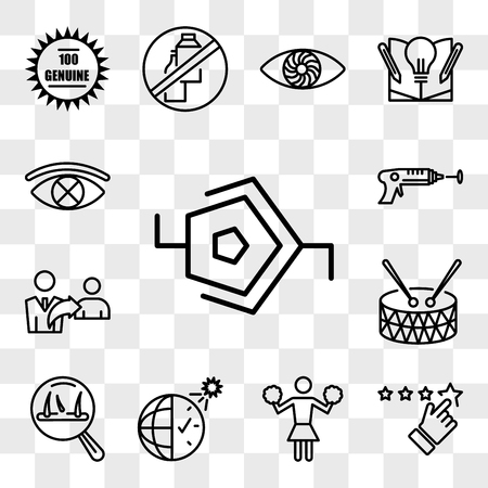 Set Of 13 transparent editable icons such as synapse, rate us, cheerleader, daylight savings, hair loss, marching band, referrals, laser tag, censorship, web ui icon pack, transparency set Illustration