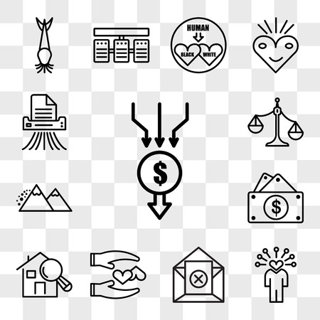Set Of 13 transparent icons such as aggregator, soft skills, unsubscribe, loyal, home inspector, capital expense, avalanche, unbalanced scale, web ui editable icon pack, transparency set