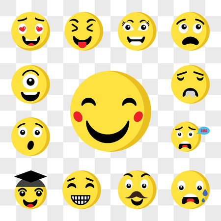 Set Of 13 transparent icons such as Happy emoji, Nervous Father Graduated Surprised Drool web ui editable icon pack, transparency set