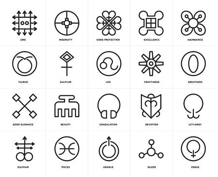 Set Of 20 icons such as Venus, Silver, Uranus, Pisces, Sulphur, Abundance, Craftiness, Coagulation, Gods guidance, protection, web UI editable icon pack, pixel perfect
