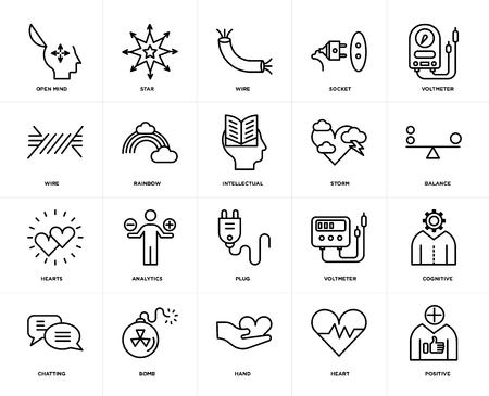 Conjunto de 20 iconos como positivo, corazón, mano, bomba, charla, voltímetro, tormenta, enchufe, corazones, arco iris, cable, paquete de iconos editables de la interfaz de usuario web, píxel perfecto Ilustración de vector