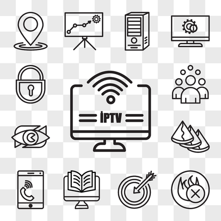 Set Of 13 transparent editable icons such as iptv, fire retardant, our mission, Studies, celphone, samosa, neighborhood watch, headcount, lockout tagout, web ui icon pack, transparency set 向量圖像