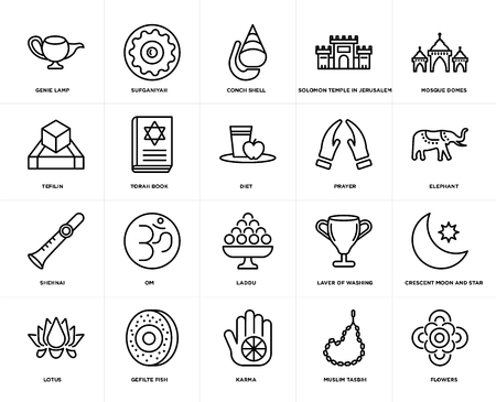 Set Of 20 icons such as Flowers, Muslim Tasbih, Karma, Gefilte Fish, Lotus, Mosque Domes, Prayer, Laddu, Shehnai, Torah Book, Conch shell, web UI editable icon pack, pixel perfect