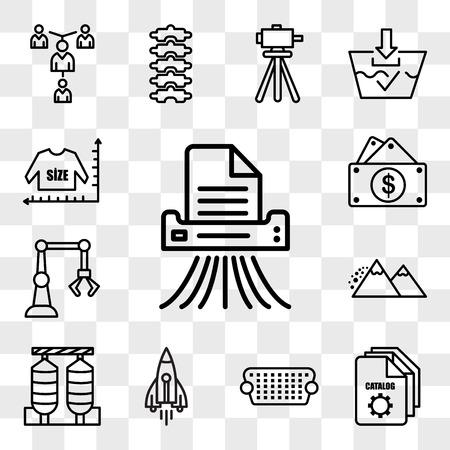 Satz von 13 transparenten bearbeitbaren Symbolen wie Shding, Servicekatalog, VGA, stellare Lumen, Silos, Lawine, Industrie 4.0, Kapitalausgaben, Größentabelle, Web-UI-Icon-Pack, Transparenzset