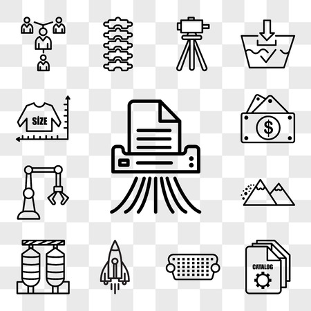 Set Of 13 transparent editable icons such as shding, service catalog, vga, stellar lumens, silos, avalanche, industry 4.0, capital expense, size chart, web ui icon pack, transparency set