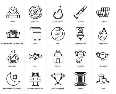 Set Of 20 simple editable icons such as Diet, Conch shell, Tablas, Shehnai, Crescent Moon and Star, Sufganiyah, Ganesha, Solomon Temple In Jerusalem, web UI icon pack, pixel perfect