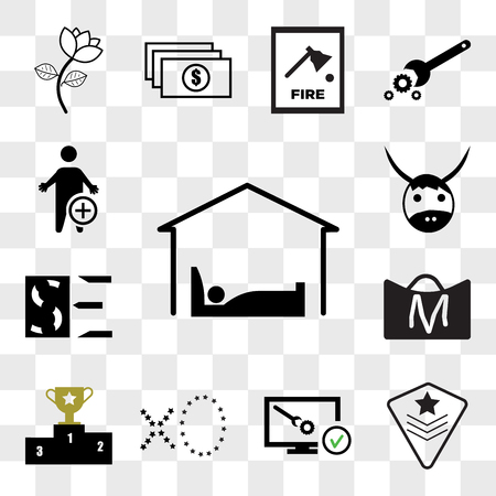 Set Of 13 transparent icons such as accomodation, air force, disaster recovery, xo, leaderboard, shop cart m letter, SE negative, yak, web ui editable icon pack, transparency set Illustration