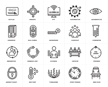 Set Of 20 simple editable icons such as Desk chair, hygrometer, bloodshot eye, customisation, lockout tagout, agnostic, commitee, webserver, web UI icon pack, pixel perfect 일러스트