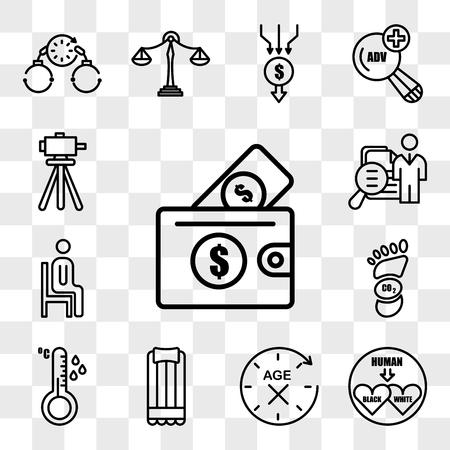 Ensemble de 13 icônes transparentes telles que l'abordabilité, interracial, anti-vieillissement, matelas pneumatique, capteur de température, empreinte carbone, assis, salon de l'emploi, pack d'icônes modifiable de l'interface utilisateur Web, jeu de transparence