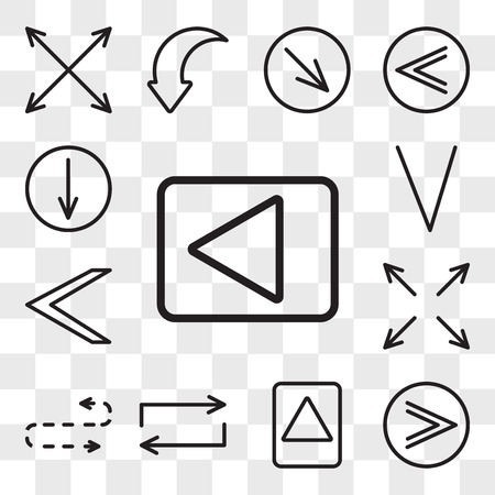 Set Of 13 transparent editable icons such as Left arrow, Fast forward, Up Repeat, Curved Expand, Down web ui icon pack, transparency set Illustration