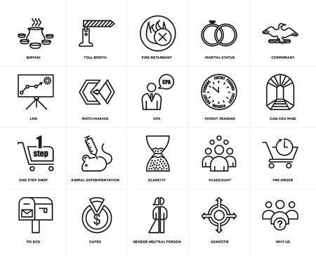 Set di 20 semplici icone modificabili come perché noi, puoi minare, cormorano, stato civile, casella postale, casello autostradale, numero di dipendenti, lms, pacchetto di icone dell'interfaccia utente web, pixel perfetto