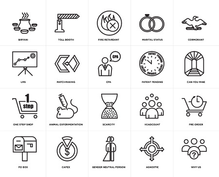 Set Of 20 simple editable icons such as why us, can you mine, cormorant, marital status, po box, toll booth, headcount, lms, web UI icon pack, pixel perfect
