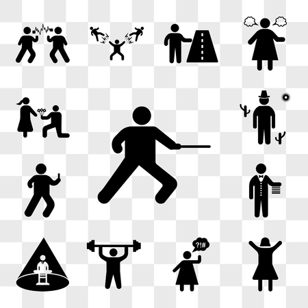 Set Of 13 transparent icons such as Man practicing fencing, Happy girl, Angry Woman, doing exercises, Abducted Man, Butler, Watching smartphone, web ui editable icon pack, transparency set
