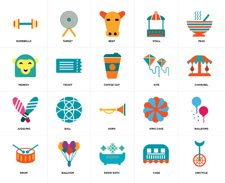 Set Of 20 icons such as Unicycle, Cage, Snow bath, Balloon, Drum, Peas, Kite, Horn, Juggling, Ticket, Beef, web UI editable icon pack, pixel perfect Vektorové ilustrace