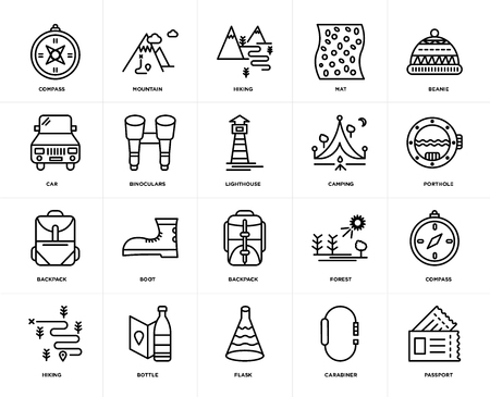 Set Of 20 icons such as Passport, Carabiner, Flask, Bottle, Hiking, Beanie, Camping, Backpack, Binoculars, web UI editable icon pack, pixel perfect