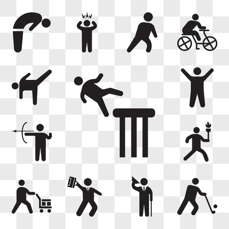 Set Of 13 transparent icons such as Falling man, Golfer, Elegant man saluting, Hurry businessman, Worker loading boxes, Man running with sport torch, web ui editable icon pack, transparency Illustration