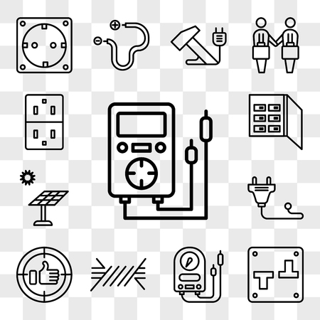 Set Of 13 transparent editable icons such as Voltmeter, Switch, Wire, Positive, Plug, Solar panel, Fuse box, Socket, web ui icon pack, transparency set Ilustração