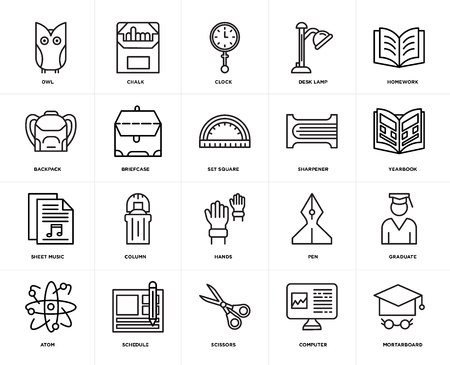 Set Of 20 icons such as Mortarboard, Computer, Scissors, Schedule, Atom, Homework, Sharpener, Hands, Sheet music, Briefcase, Clock, web UI editable icon pack, pixel perfect