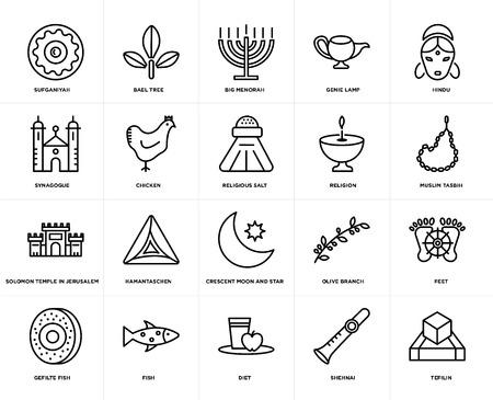 Set Of 20 simple editable icons such as Tefilin, Muslim Tasbih, Hindu, Genie Lamp, Gefilte Fish, Bael tree, Olive Branch, Synagogue, web UI icon pack, pixel perfect Foto de archivo - 106809128