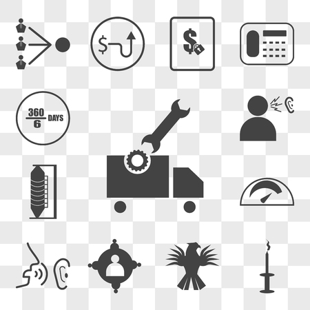 Set Of 13 transparent editable icons such as vehicle inspection, amenities, griffin, employee engagement, whisper, mileage, silo, word of mouth, 60 days, web ui icon pack, transparency set
