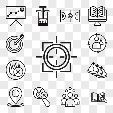 Set Of 13 transparent icons such as sniper zoom, proofreading, headcount, no hidden fees, location, samosa, fire retardant, remarketing, web ui editable icon pack, transparency set
