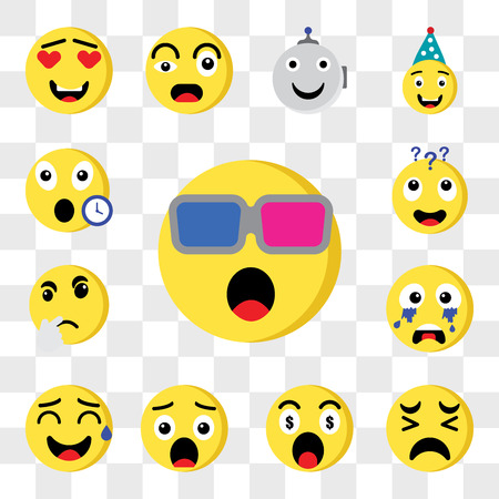 Set Of 13 transparent editable icons such as 3d glasses, Sad, Greed, Surprised, Sweat, Crying, Thinking, Dubious, Late, web ui icon pack, transparency set 版權商用圖片 - 111892202