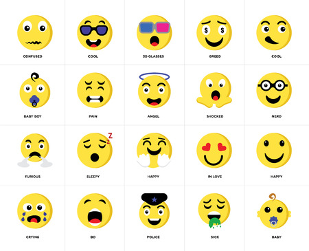 Set Of 20 icons such as Baby, Sick, Police, Bo, Crying, Cool, Shocked, Happy, Furious, Pain, 3d glasses, web UI editable icon pack, pixel perfect Çizim
