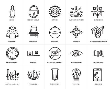 Conjunto de 20 iconos editables sencillos como bloqueo, etiquetado, innovación, zoom de francotirador, tumbleweed, análisis en tiempo real, corrección de pruebas, silla de escritorio, paquete de iconos de interfaz de usuario web, píxel perfecto
