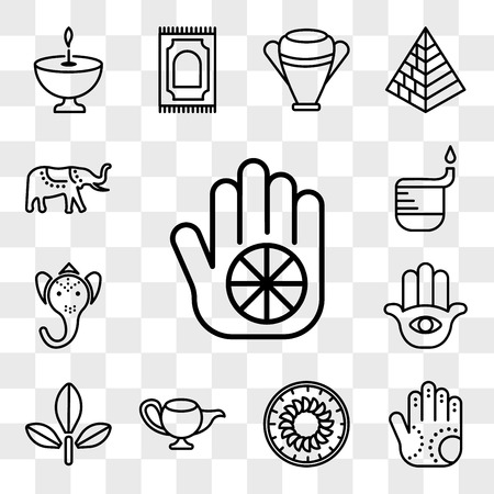 Set Of 13 transparent editable icons such as Karma, Henna painted hand, Apple Cake, Genie Lamp, Bael tree, Hamsa Hand, Ganesha, Dipa, Elephant, web ui icon pack, transparency set