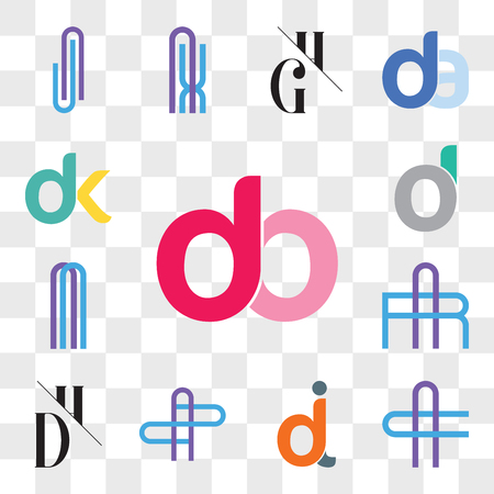 Set Of 13 transparent editable icons such as db, bd, AC or CA Letter, dj, jd, AZ ZA DH, HD, AR RA, d, oi, do, dk, kd, web ui icon pack, transparency set Ilustração