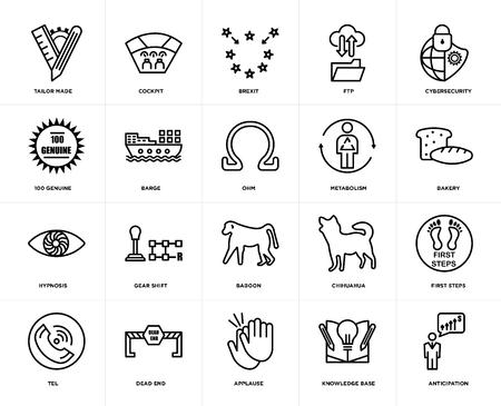 Satz von 20 Symbolen wie Vorfreude, Wissensdatenbank, Applaus, Sackgasse, Telefon, Cybersicherheit, Stoffwechsel, Pavian, Hypnose, Lastkahn, Brexit, bearbeitbares Symbolpaket für die Web-UI, Pixel Perfect