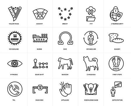 Set Of 20 icons such as anticipation, knowledge base, applause, dead end, tel, cybersecurity, metabolism, baboon, hypnosis, barge, brexit, web UI editable icon pack, pixel perfect Illustration