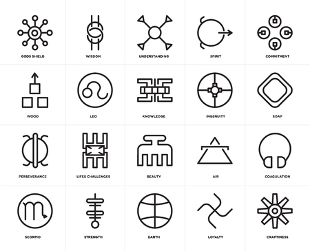 Set Of 20 icons such as Craftiness, Loyalty, Earth, Strength, Scorpio, Commitment, Ingenuity, Beauty, Perseverance, Leo, Understanding, web UI editable icon pack, pixel perfect Illustration