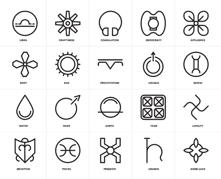 Set Of 20 icons such as Good luck, Uranus, Freedom, Pisces, Devotion, Affluence, Earth, Water, Sun, Coagulation, web UI editable icon pack, pixel perfect Ilustração