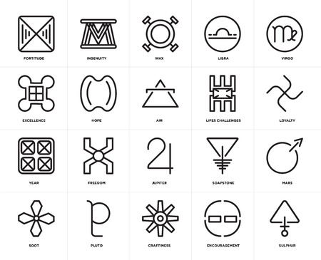 Set Of 20 icons such as Sulphur, Encouragement, Craftiness, Pluto, Soot, Virgo, Lifes challenges, Jupiter, Year, Hope, Wax, web UI editable icon pack, pixel perfect Illustration