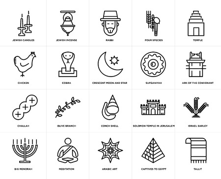 Set Of 20 icons such as Tallit, Captives to Egypt, Arabic Art, Meditation, Big Menorah, Temple, Sufganiyah, Conch shell, Challah, Cobra, Rabbi, web UI editable icon pack, pixel perfect