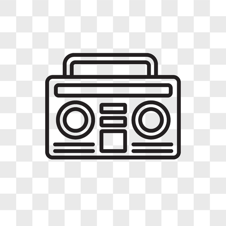 Boombox vector icon isolated on transparent background, Boombox logo concept Иллюстрация